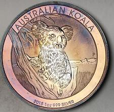 2015 AUSTRALIAN KOALA SILVER DOLLAR .999 PROOF COLOR TONED BU UNC PURPLE (DR)