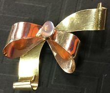 Beautiful Rare Antique Estate Rose Gold & Moonstone Gold Filled Bow Pin Brooch