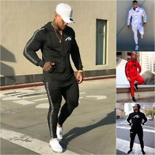 2Pcs UK Mens Zipper Hoodie Casual Fitness Tracksuit Set Gym Jogging Sports Suit