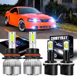 For 99-04 Ford Mustang LED Headlight Bulbs Hi/Lo Beam+Fog Light Bulbs 8000K Kit