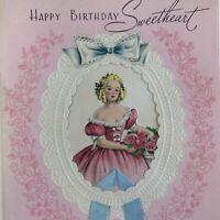 Vintage Early Mid Century Birthday Greeting Card Pretty Girl Victorian Dress
