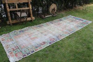 "Vintage Turkish Handmade Kitchen Oushak Runner Rug  12'10""x4'6"""