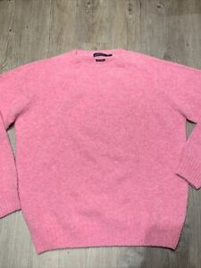 Polo Ralph Lauren Pink Wool Cashmere Crewneck Sweater Made in SCOTLAND XL