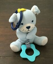Carters Child Of Mine Blue Puppy Dog Teether Teething Ring Baby Toy Plush Rattle