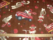 Fleece Fabric Sock Monkey Toy Old Fashioned Car Wagon Trike on brown BTY