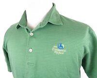 Peter Millar Medium Golf Polo Shirt Striped Green White Cotton Experience Koele