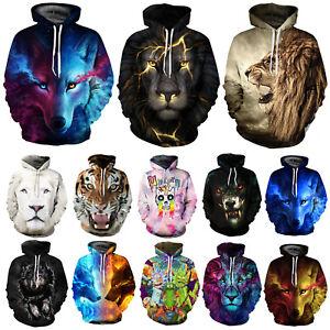 Unisex Hoodies 3D Wolf Lion Hooded Sweatshirt Jacket Coat Pullover Jumper Tops