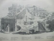 ANTIQUE PRINT C1870'S ROME ENGRAVING PLAN THE FORUM IN 1830 CAMPO VACCINO ITALY