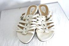 Women's Clarks Artisan Ivory leather strappy stud slide sandals 6.5  EUC Comfort