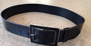 Laura Ashley Black Croc Leather Wide Belt Silver Metal Rectangle Buckle S Small