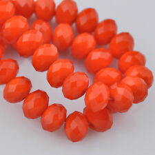 100pcs 6x4mm Rondelle Faceted Crystal Glass Loose Beads Opaque Reddish Orange