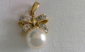 14K Pearl & Diamond Bow Pendant with bale
