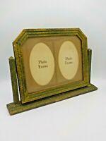 Antique Art Deco Wood Double Photograph Swing 2 Photo Picture Frame & Matte Grn