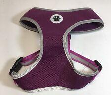 XL Purple Padded Mesh Soft Dog Harness - Safe Reflective No Choke Walking Pet