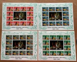Ghana Stamps SC#363s 4 Art Sheets - Beautiful Fruits painting in center MNH/OG