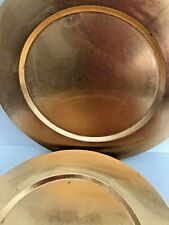 "Set of 6 Metallic GOLD Leaf LACQUER Round CHARGER PLATES 13"" Under Plate Holiday"