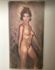 Vintage Original MID CENTURY Oil Painting Nude Woman Busty Brunette 15x30""