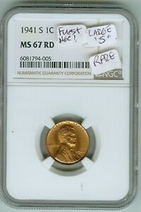 Finest NGC MS 67 Red 1941 S Large S Lincoln Cent--Registry Set Coin!