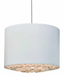 Large Pendant Shade With Acrylic Crystal Diffuser Ivory White Ex High End Stock