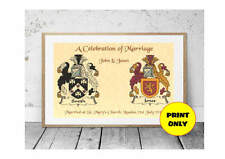Wedding Marriage Personalised Coat of Arms Surname Double Print + Engagements