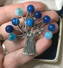 Gorgeous Blue Agate Bead Silver TREE Costume Brooch - BN - Pagan, Wicca