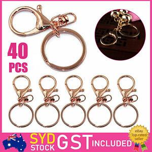 40X Rose Gold Swivel Lobster Clasp Trigger Clip Key Ring Keychain Split Ring DIY
