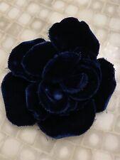 """STUNNING VINTAGE CHANEL FRENCH CAMELLIA 4"""" FLOWER BROOCH/PIN Blue Silk Velvet"""