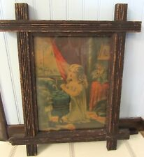 """1878 ANTIQUE PRINT """"YOUNG GIRL PRAYING"""" by GEO. STINSON PRIMITIVE FRAME IS 17x20"""