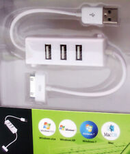 White Port 3 USB Hub Charging cable For Apple iphone 3G/3GS/4G iPad 1/2  iPod