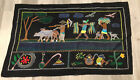 Embroidered Tapestry Wall Art, Farmers, Oxen, Birds, Flowers, Vivid Colors