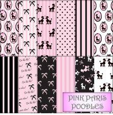 PINK PARIS POODLES SCRAPBOOK PAPER - 12 x A4 pages.