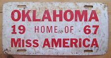 1967 OKLAHOMA HOME OF MISS AMERICA BOOSTER License Plate