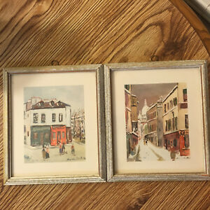 Pair Maurice Utrillo Prints Paris Montmartre, Church Streets Stores, Restaurant
