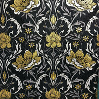 FAT QUARTER Black Gold Gilded Floral COTTON QUILT CRAFT FABRIC FQ Great for Mask
