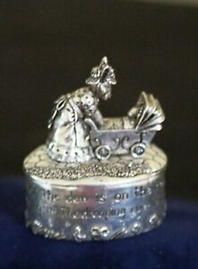 SILVER SCENES SILVER PLATED PEWTER PILL BOX-MUM & BABY RABBIT WITH PRAM