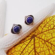 Lapislazuli blau rund Nostalgie Design Ohrring Ohrstecker 925 Sterling Silber