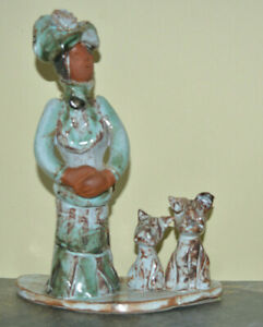 Marie Whitby - Ashwell Pottery - Seven Springs - Dated 1985 - Lady and her Dogs