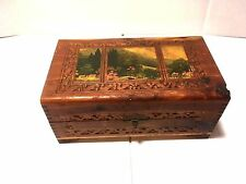 Antique Vtg Dove Tail Keepsake Wood Wooden Jewelry Hanky Box With Latch