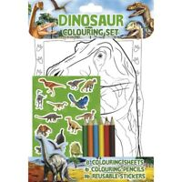 Dinosaur Colouring Set With Stickers & Coloured Pencils Party Bag Filler Gift