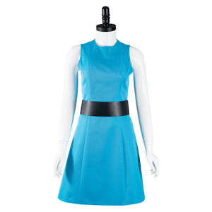 The Powerpuff Girls Bubbles Cosplay Costume Halloween Blue Dress Outfit Suit
