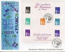PREMIER JOUR / FDC / BLOC OBLITERE N° 41 MARIANNE EN FRANCS PARIS 2001