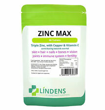 Zinc Tablets Max Triple Strength (90) + Copper + Vitamin C, Acne, Sexual Health