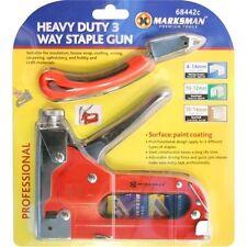 HEAVY DUTY 3 WAY STAPLE NAIL GUN STAPLER UPHOLSTERY WOOD + REMOVER KIT QUICK NEW