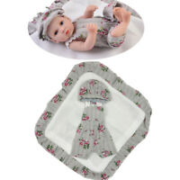 "Cute Newborn Baby Doll Clothes for 10-11"" Reborn Girl Overalls Beret Hat Set"