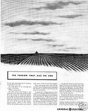 1942 General Electric GE What is electronics? Print Ad Furrow That Has No End