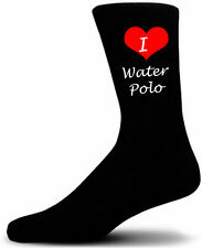 I Love WaterPolo Socks. Black Cotton Socks.