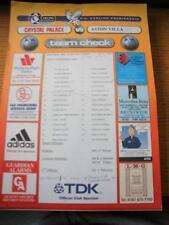08/11/1997 Colour Teamsheet: Crystal Palace v Aston Villa (Team Changes, Folded)