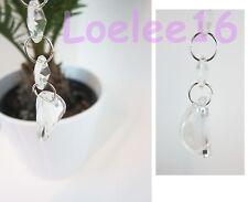 "6 Pc Crystal Half Moon Hanging Jewel Clear Ornament Wedding Garland 7"""