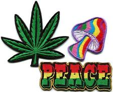 Lot of 3 peace mushroom pot weed rasta hippie retro applique iron-on patches P-6