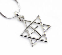 H.quality Necklace & pendant rhodium silver.Jewish Star of David&Cross holyland